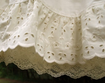 Organic cotton Petticoat-double layered with two tiers of of lace and embroidered detail- custom made to measure