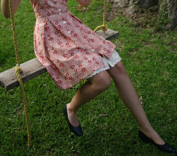 Organic cotton petticoat with vintage eyelet lace ruffle- button closure, gathered at the waist- made to order