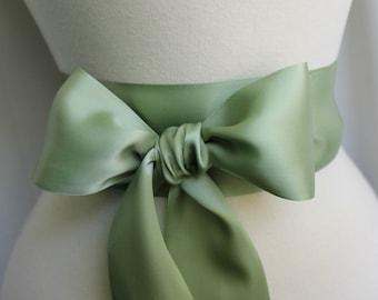 Sage Green Moss Sash Belt  - 2 1/4in. - Double Faced Satin Ribbon Sash - Bridal Bridesmaids Sashes