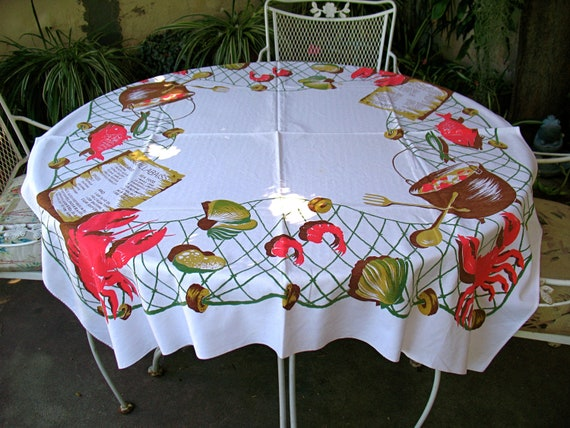Vintage VHTF California Handprints LOBSTER CRAB Tablecloth - Clambake Labor Day