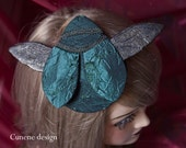 Cunene Teal Scarab, Beetle Fascinator Hat