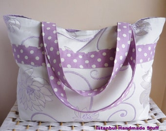 Beach Bag  with lilac polka dots  /Weekender bag