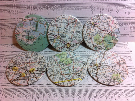 North Carolina vintage map coasters - Winston-Salem, Greensboro, Raleigh, Fayetteville and more - North Carolina, United States (Set of 6)
