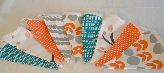 fabric flag pennants, bunting,  in teal orange and gray, lotta jansdotter bella, double sided, reusible party decoration, nursery decor