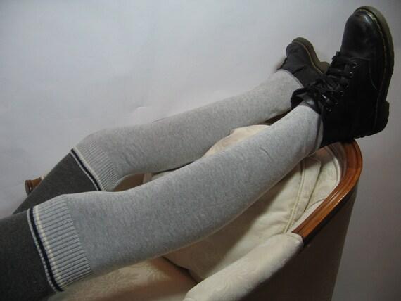 Grey Striped Leggings Over the Knee Socks Leg Warmers,  Thigh High Knit  Boot Sock B600