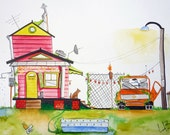 Custom Watercolor Painting Illustration of House, Home, Cabin, Beach House, Vacation Home 18x24