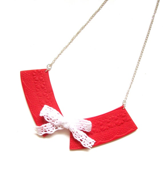 Bow necklace Lace and clay bib necklace Red necklace with white ribbon tied into bow The Collar Red one-of-a-kind