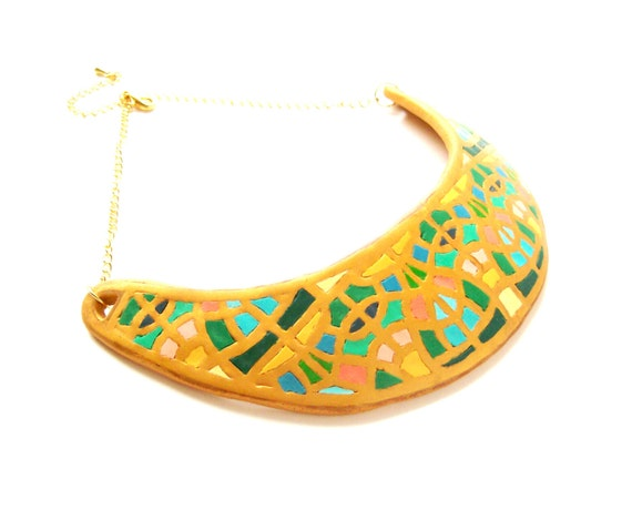 Choker bib necklace Egyptian style art deco art nouveau gold statement necklace yellow aqua turquoise polymer clay elegant dressy necklace