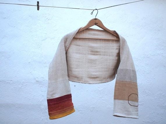 Custom order for Mary T -Raw Silk & Pima Cotton Bolero Shrug - Sunrise Stripes, Glass beads and Chilkat Weaving