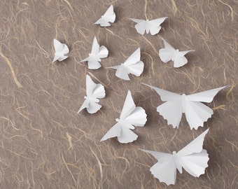 3D Wall Butterflies: Snow White Metallic Butterfly Silhouettes for Girls Room, Nursery, and Home Decor