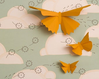 3D Wall Butterflies: Squash Butterfly Silhouettes for Girls Room, Nursery, and Home Art Decor