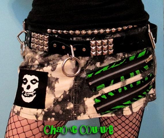 Punk Rock Misfits Neon Green Zebra  Zipper Jean Skirt