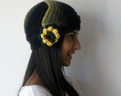 With a Gift.buy this lovely hat.  navy blue,yellow,beanie,knit,valentine,Christmas gifts,