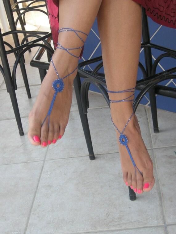 Barefoot Sandals,darkblue , bead , wedding , Bikini , Women , Beach , Bridal Shoes , Bridal Sandals , Bridal Jewelry ,shoes , READY TO SHIP