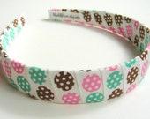 Candy Spots Brown Green and Pink Polka Dots Ribbon Headband- for Girls and Teens