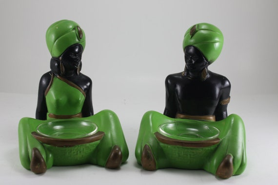 Vintage Blackamoor Man And Woman Chalk Figurines By