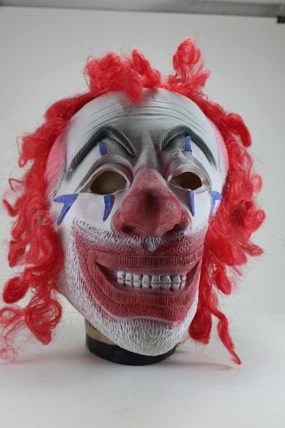 Vintage Ugly Creepy Scary Clown Rubber Mask