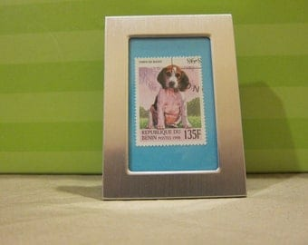 Beagle - Recycled postage stamp Framed art or Key Chain