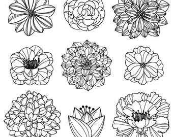 Flower Silhouettes 3 Clipart Clip Art, Flower Clip Art Clipart - Commercial and Personal Use
