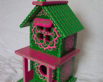 Festive Green and Pink Painted Birdhouse 2 Story/ Folk Art/ Decorative