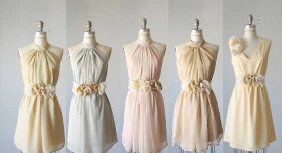 Mismatched Bridesmaid Dresses / Pale Pastel By