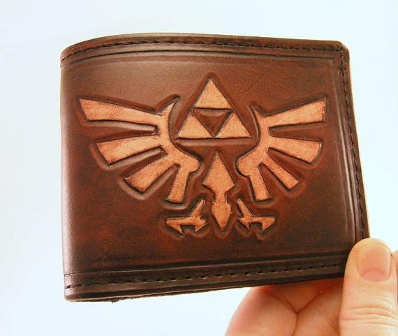RESERVED ITEM Zelda Hyrule Crest Hand-Tooled Leather Wallet