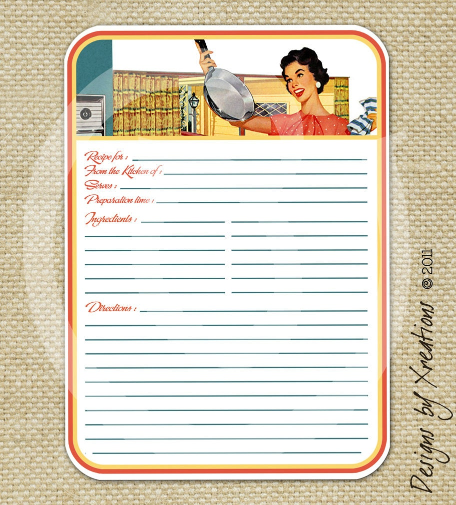 It is a picture of Declarative Blank Recipe Card