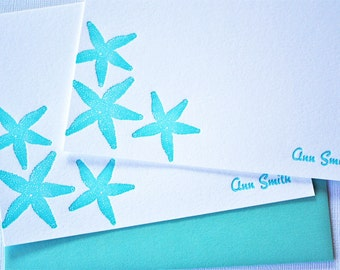 Personalized Starfish Letterpress Stationery Aqua Blue Cards