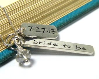 bride to be necklace relationship, engagement, wedding date sterling silver handstamped heirloom keepsake