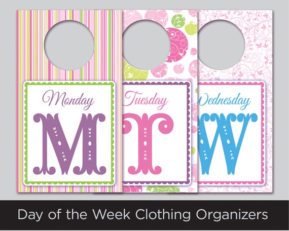 day of the week hanger tag closet organizers by aandzdesign