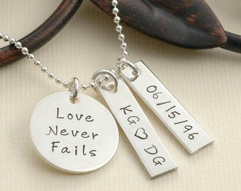 Love Never Fails - Personalized hand stamped necklace
