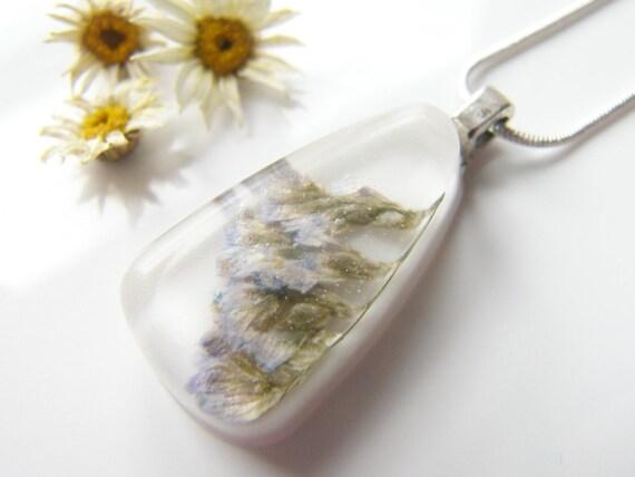 Sea Lavender Pendant,  Pressed Flower, Botanical, Woodland, White Resin Necklace