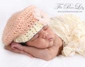 Vintage Inspired Beret Newborn Baby Girl Crochet Photo Prop