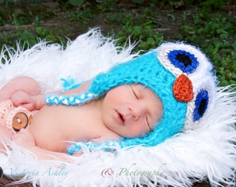 Baby Owl Hat, Newborn Owl Hat,  Fuzzy Turquoise OWL Hat, Newborn Baby Crocheted Photo Prop