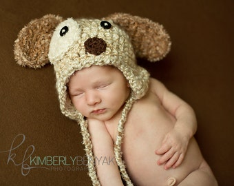 Newborn Puppy Hat with Earflaps, Baby Puppy Hat Crochet Photo Prop