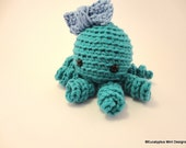 Light Blue Teal Crochet Octopus Amigurumi Plush Animal Toy with a Bow Tie