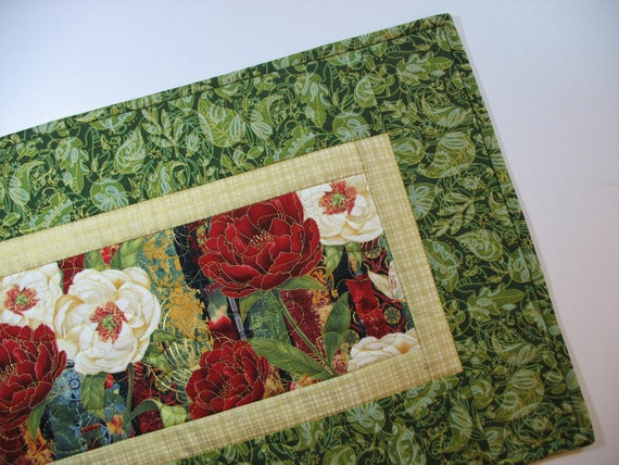 Floral Table Runner made with Hoffman and  Timeless Treasures Fabric