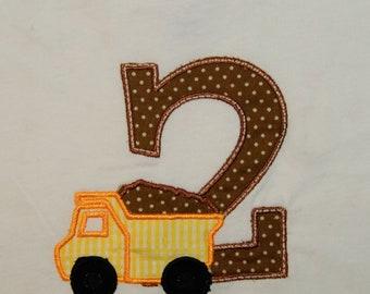 Personalized Dump Truck Birthday Shirt or Bodysuit