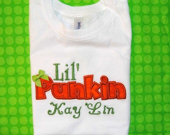 Lil' Punkin Embroidered Bodysuit or Shirt with a bow.
