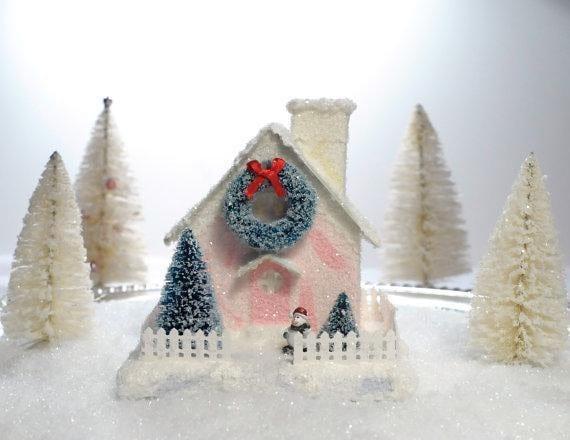 Vintage Style Putz Glitter House Cottage Pink