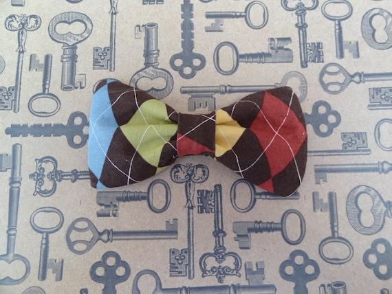 Argyle clip-on bow-tie, clip on bow tie, bowtie