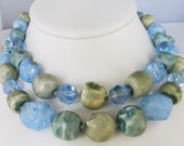 Vintage jewelery necklace double strand blue green Art Glass AB blue crystals silver fish hook clasp necklace