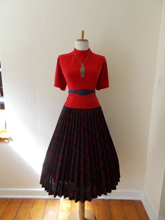 VINTAGE 1950s 1960s 1970s High Waisted Plaid Wool Full Skirt
