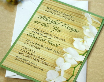 Spa Party Invitation, Bridal Shower Invitation, White Orchids Invitation, DEPOSIT