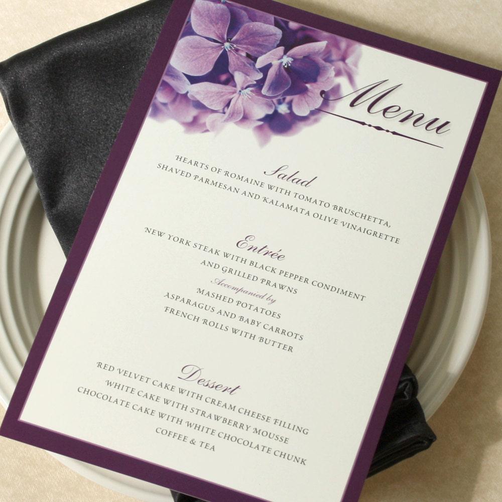 Purple hydrangea wedding invitation sample -  Purple Hydrangea Wedding Dinner Menu Deposit Zoom