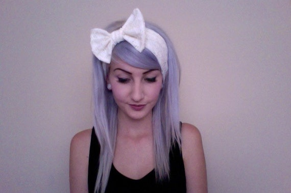LANA DEL REY inspired white eyelet lace bow turban headband head wrap