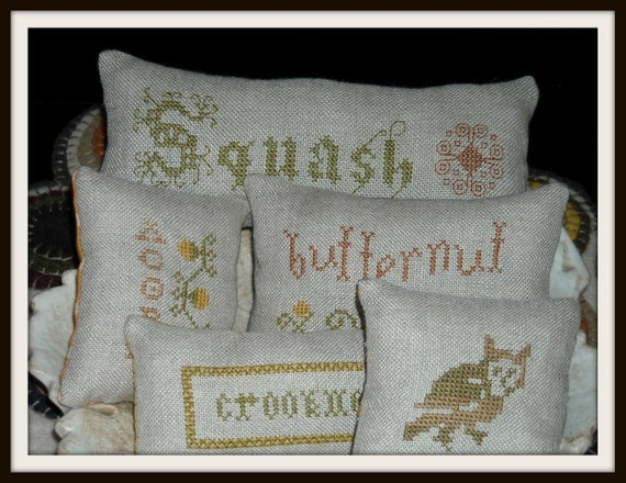 5 Squash and Owl Bowl Fillers, Cupboard Pillows, Primitive Cross Stitch, Autumn, Fall