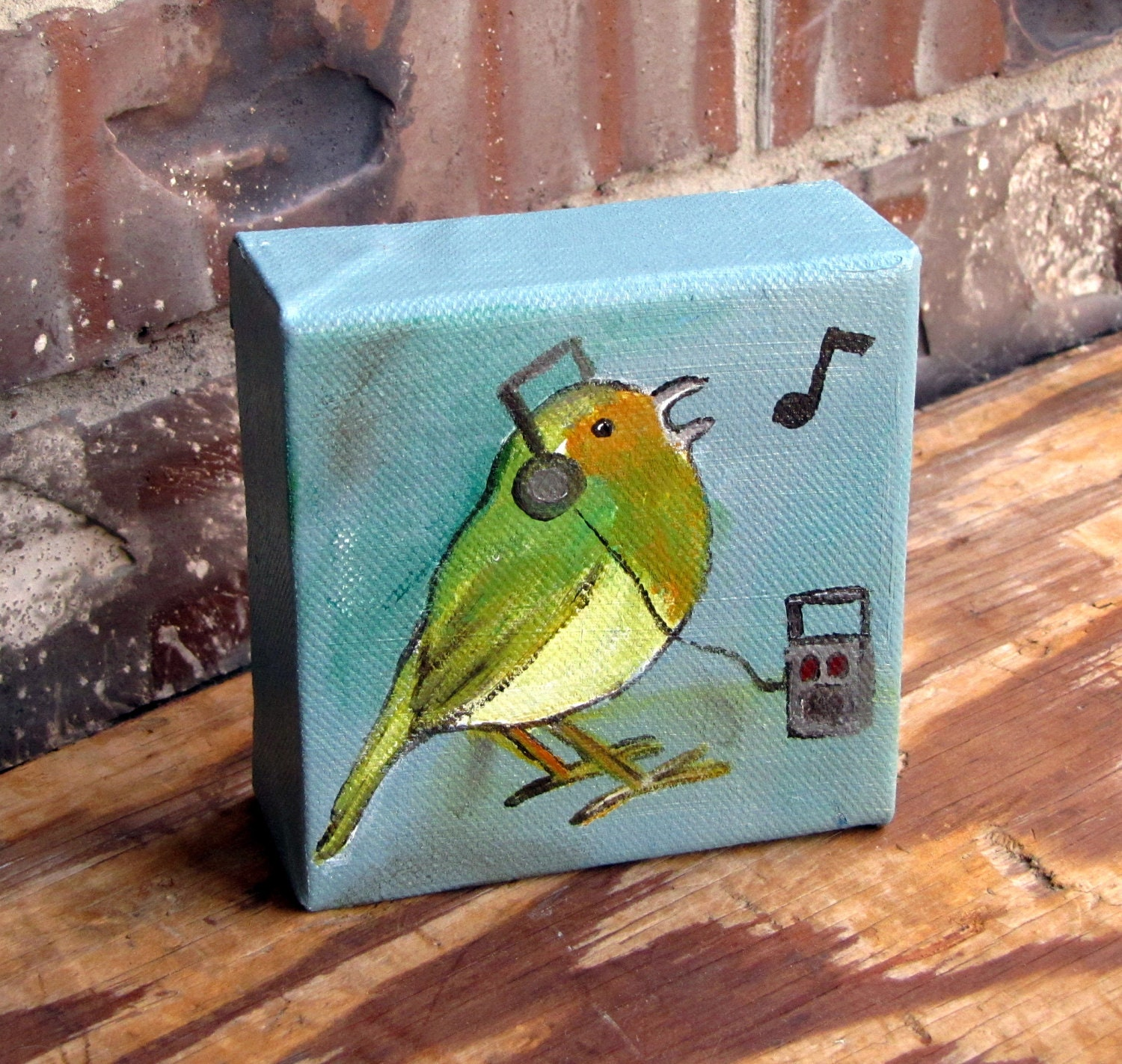 Whimsical Home Decor Songbird Painting Music Original By