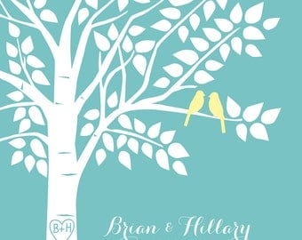 Guest Book Tree Personalized Wedding Print - 16x20 - 100 Signature Keepsake Guestbook Poster