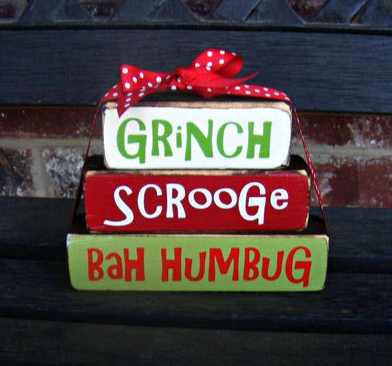 "Christmas wood blocks-Grinch stacker blocks-part of the ""Grinch"" collection"